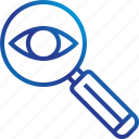glass, look, magnifying, search, zoom icon