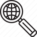 glass, magnifying, search, world, zoom icon