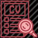 cv, recruitment, job, search, magnifying, glass