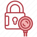 lock, search, magnifying, glass, loupe, detective