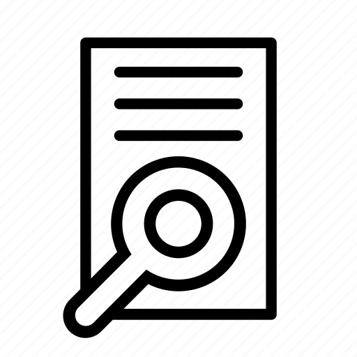 document, find, inspect, lupa, page, search, sheet icon