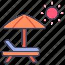 beach, chair, relax, summer, sun, umbrella, vacation icon