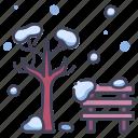 branch, cold, nature, park, snow, tree, winter icon