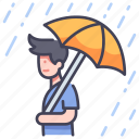 day, autumn, umbrella, storm, season, rain, rainy icon