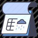 calendar, cloud, date, month, rain, season, year