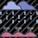 growth, leaf, nature, plant, rain, season, water icon