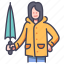 clothing, umbrella, season, rain, rainy, weather, raincoat icon
