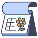 calendar, date, flower, month, season, spring, year