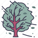leaf, nature, storm, tree, weather, wind, windy icon