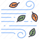 autumn, leaf, nature, season, weather, wind, windy icon