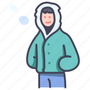 clothes, cold, fashion, person, style, warm, winter icon