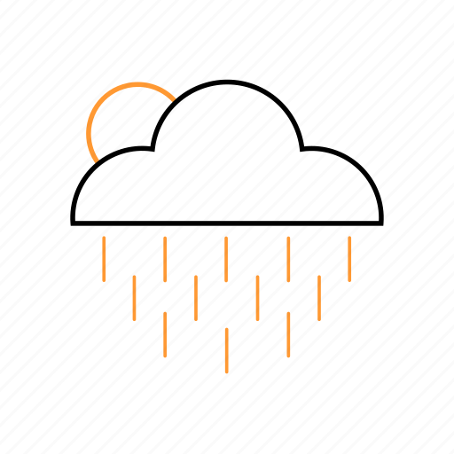 cloudy, outline, rain, weather icon