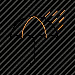cloudy, outline, rain, umbrella icon