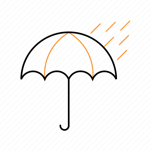 cloudy, outline, rain, umbrella icon
