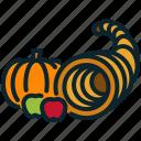 autumn, cornucopia, fruits, halloween, harvest, pumpkin, thanksgiving icon