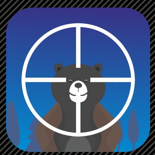 animal, bear, hunter, nature, shot, target icon