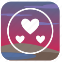 hear, love, nature, passion, romantic, sunset icon