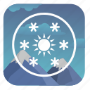 flakes, mountains, snow, sun, weather icon