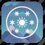 flakes, mountains, snow, sun, weather icon