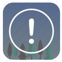 attention, forest, nature, night, warning icon
