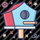 bird box, bird cage, bird coop, bird home, bird nest, birdhouse, woodwork icon