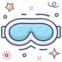 eye protection, eye wear, glasses, opticals, ski goggles, spectacles, swimming goggle icon
