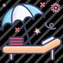 beach, beach bed, beach chair, outdoor furniture, sunbath icon