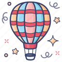 air flight, hot air balloon, exploration, destination, adventure icon