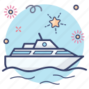cruise ship, freight container, water cargo, delivery ship, cargo ship, logistics icon