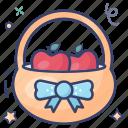 food bucket, fruits basket, grocery, grocery basket, handbasket, picnic basket