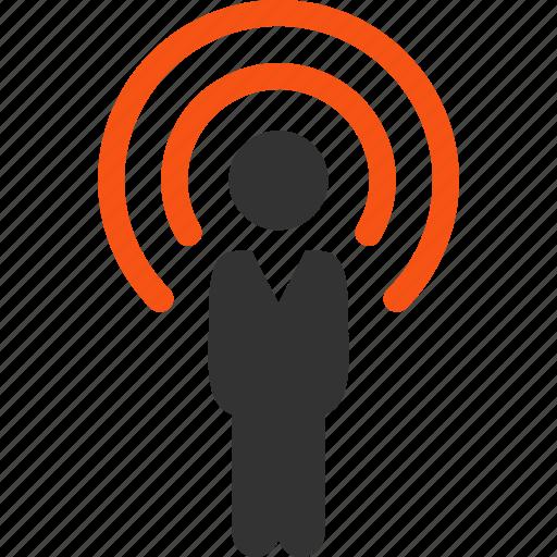communication, data source, information, media, news, person, speaker icon