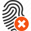 biometric identification, denied, fail, finger print, fingerprint, touch, trace icon