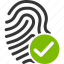 biometric identification, finger print, fingerprint, identify, success, trace, valid icon