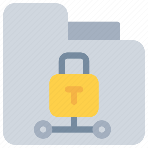 data, folder, network, padlock, secure, security icon