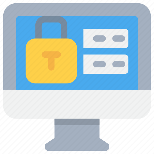 computer, login, padlock, password, secure, security icon