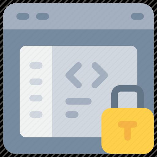 code, coding, development, padlock, secure, security icon