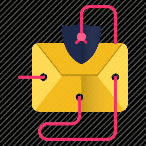 communication, email, envelope, threat, virus icon
