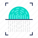 fingerprint, id, protection, scan, scanner, security icon
