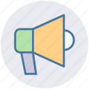 announcement, attention, loudspeaker, megaphone, round, talk icon
