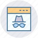 glasses, hat, hipster, incognito, proxy, spy, web page icon