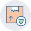 box, delivery, package, protection, shield icon