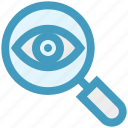 crime, eye, magnifier, magnifier eye, review, search, security icon