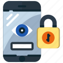 eye, lock, mobile, phone, protection, security, smartphone icon