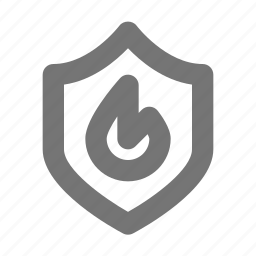 fire, flame, protect, safe, security, shield icon