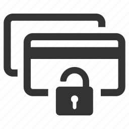 credit cards, lock, password, pay, payment, safe, secure icon