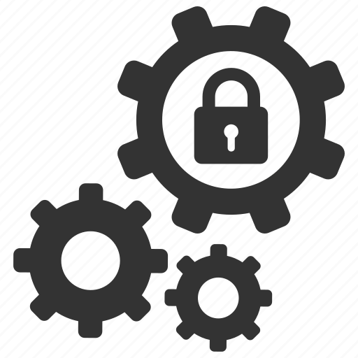 cogs, lock, options, privacy, protect, secure, settings icon