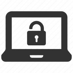 computer, laptop, lock, login, password, secure, unlocked icon