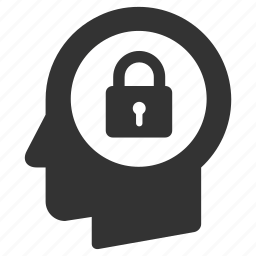 head, lock, locked, login, password, person, safe icon
