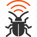 antenna, equipment, radio bug, security, signal, virus, warning icon