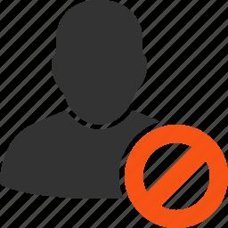 account, ban, forbidden user, person, profile, prohibited, prohibition icon